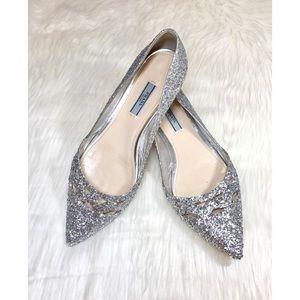 🍹💕SummerSale! PRADA Platinum Glitter Ballerinas!